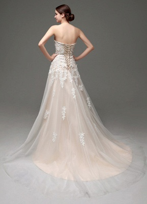 Wedding Dresses Champagne Tulle Strapless Sweatheart Lace Sash Bridal Gown_5