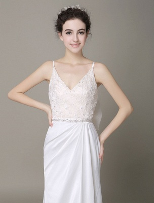 Satin Sheath Wedding Dress Plunging Neckline Bow Back Belt Lace Beading Evening Dress Exclusive_3