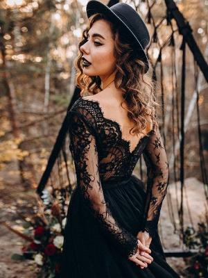 Black Wedding Dresses A-Line Designed Neckline Long Sleeves Natural Waistline Tulle Lace Sweep Bridal Gown_6