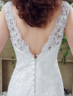 White Wedding Dress Lace Backless Bridal Dresses Rhinestones Beaded Mermaid Wedding Gown_6