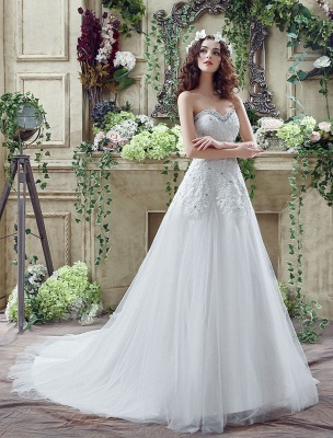 Tulle Wedding Dress Lace Beading Bridal Gown Strapless Sweetheart Chapel Train A-Line Backless Bridal Dress_4