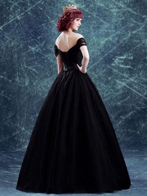 Robes de mariée gothiques Tulle princesse silhouette manches courtes taille naturelle robe de mariée plissée au sol_2