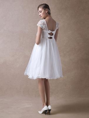 Simple Wedding Dresses Short Empire Waist Lace Tulle Cap Sleeve Pregnant Bridal Dress Exclusive_8