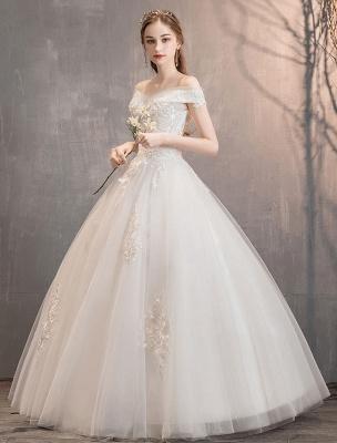 Elfenbein Brautkleider Tüll Schulterfrei Spitze Applique Bodenlangen Prinzessin Brautkleid_2