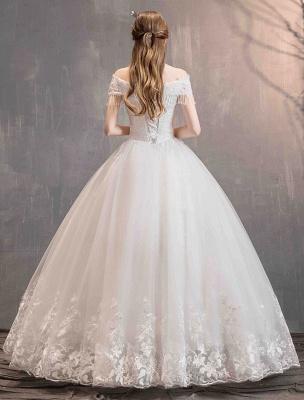 Tüll Brautkleider Prinzessin Brautkleid Schulterfrei Spitze Applique Bodenlangen Ballkleid Brautkleid_11