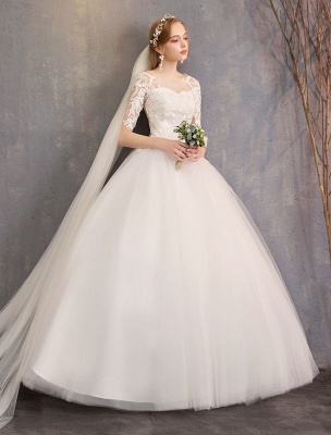 Vestidos de novia de encaje Marfil Escote de ilusión La mitad de manga Hasta el suelo Vestido de novia de princesa_5