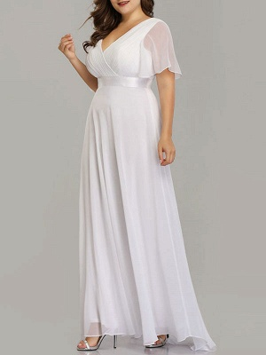 Simple Wedding Dress V Neck Short Sleeves A Line Floor Length Chiffon Sash Plus Size Bridal Gowns With Sweep Train_3
