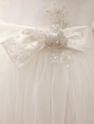 Simple Wedding Dresses Satin Square Neck Applique Short Bridal Dress With Beading Bow Sash Exclusive_8