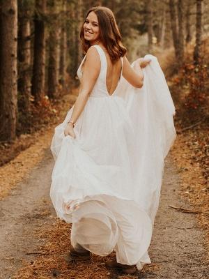 Einfache Hochzeitskleid Backless Brautkleider Chiffon V-Ausschnitt A-Linie Brautkleider_8