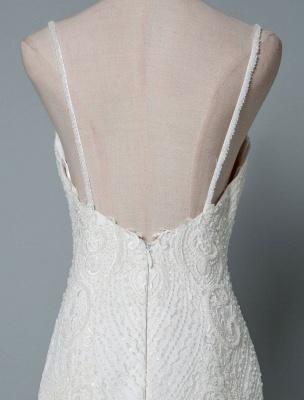 Einfache Brautkleider Spitze V-Ausschnitt Ärmellose Spitze Meerjungfrau Brautkleider mit Zug With_6