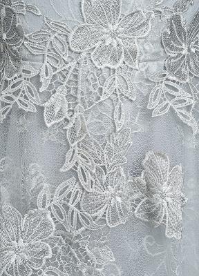 Robes de mariée d'été 2021 dentelle grise appliques Maxi robe de mariée dos nu demi-manches étage longueur robe de mariée_10