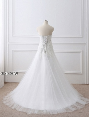 Tulle Wedding Dress Lace Beading Bridal Gown Strapless Sweetheart Chapel Train A-Line Backless Bridal Dress_13
