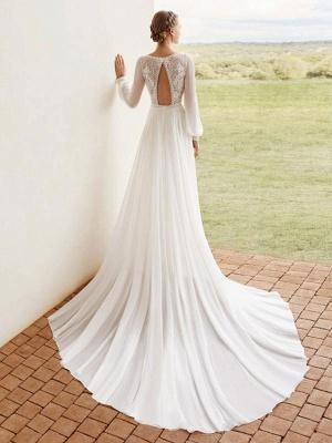 Elfenbein Einfaches Brautkleid mit Zug A-Linie V-Ausschnitt mit langen Ärmeln Spitze Brautkleider_3