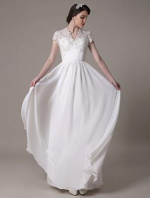 Sheath Wedding Dress V-Neck Lace Chiffon Pleated Floor Length Bridal Dress Exclusive_2