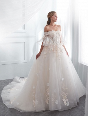 Princess Wedding Dresses Half Sleeve Off Shoulder Lace Flowers Pearls Applique Ivory Bridal Dress With Train_2