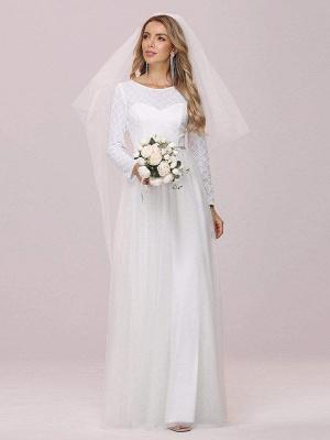 Weißes einfaches Hochzeitskleid Jewel Neck Long Sleeves Natural Waist A-Line Tüll Lange Brautkleider_5