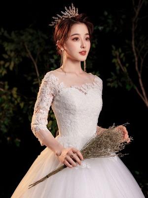 Simple Wedding Dress Eric White Ball Gown Jewel Neck Half Sleeves Applique Long Bridal Dresses_7