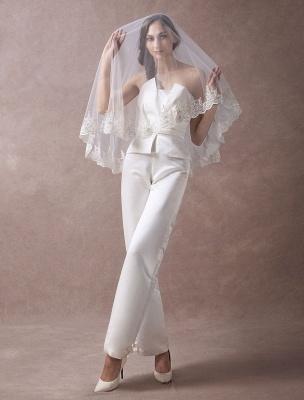 Wedding Jumpsuits Ivory Strapless Peplum Satin Bow Sash Long Bridal Jumpsuits Exclusive_2