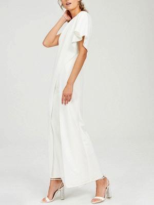Einfache Hochzeits-Overalls Elfenbein One Shoulder Culottes Brautkleid_3