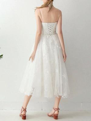 Short Wedding Dress2021 A Line Sweetheart Neck Sleeveless Tea Length Natural Waist Tulle Bridal Dresses_4