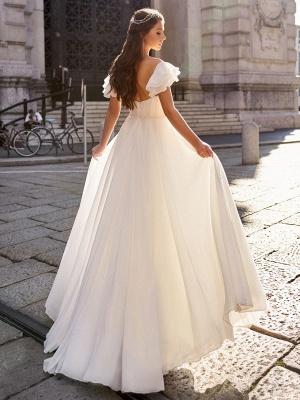 Einfaches Hochzeitskleid A Line Off The Shoulder Natürliche Taille Chiffon Brautkleider_2