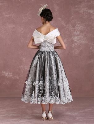 Black Wedding Dresses Vintage Short Bridal Gown Lace Off The Shoulder Polka Dot Print Bridal Dress With Bow At Back Exclusive_7