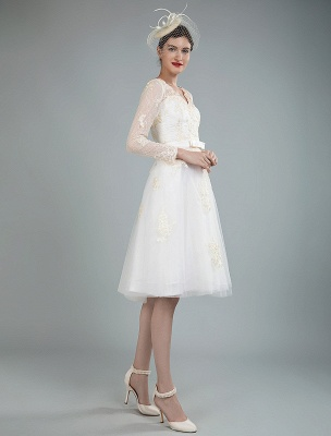Short Wedding Dress Tulle Knee Length V Neck Long Sleeves A Line Natural Waist Bridal Gowns Exclusive_6