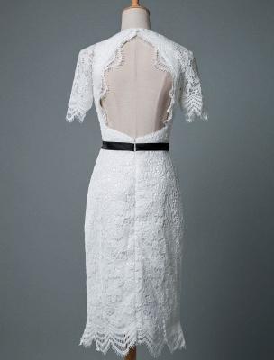 Einfache Brautkleider V-Ausschnitt Kurze Ärmel Mantel Knielang Vintage Brautkleider Exklusiv_4