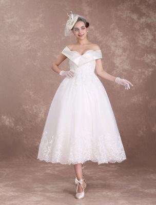 Vintage Wedding Dresses Off The Shoulder Short Bridal Dress 1950'S Lace Applique Beaded Tea Length Wedding Reception Dress Exclusive_6