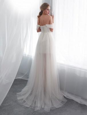 Brautkleider Tüll Elfenbein Schulterfrei Sweetheart Beach Brautkleid mit Schleppe_6