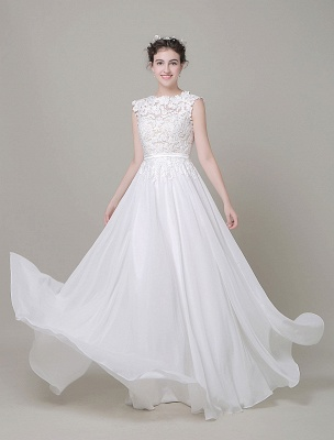 Robe de mariée en mousseline de soie Bateau Dentelle Satin Sash Longueur de plancher Une ligne Robe de mariée d'été_9