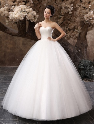 Princess Wedding Dresses 2021 Ball Gown White Maxi Strapless Sweetheart Neckline Tulle Floor Length Bridal Gowns_1