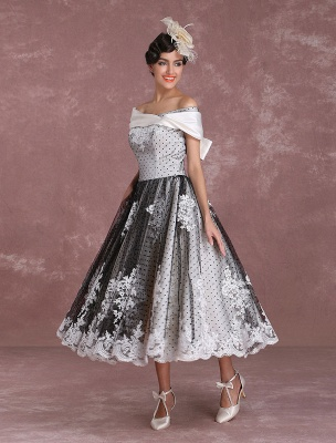 Black Wedding Dresses Vintage Short Bridal Gown Lace Off The Shoulder Polka Dot Print Bridal Dress With Bow At Back Exclusive_6