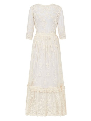 Boho Wedding Dress Suit 2021 V Neck Floor Length Lace Multilayer Bridal Gown Dress And Outfit_10
