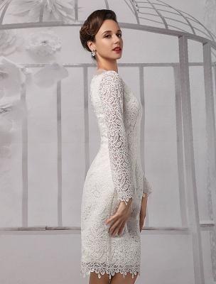 Einfache Brautkleider 2021 Kurze Langarm Illusion Ausschnitt Koyhole Knielangen Mantel Brautkleid Exklusiv_8