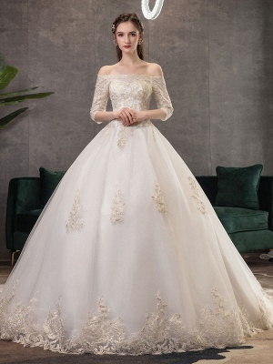 Princess-Wedding-Dresses-Ivory-Lace-Applique-Off-The-Shoulder-Half-Sleeve-Bridal-Gown-With-Train_2