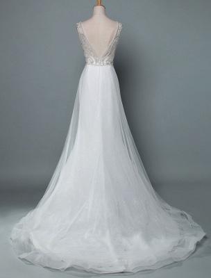 Robe de mariée de plage une ligne sans manches col en V haute Split longueur de plancher dos nu robe de mariée sexy_3