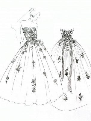 Wedding Dresses Strapless Black Bridal Gown Lace Applique Flowers Sash Beaded Court Train Ivory Tulle Bridal Dress Exclusive_9