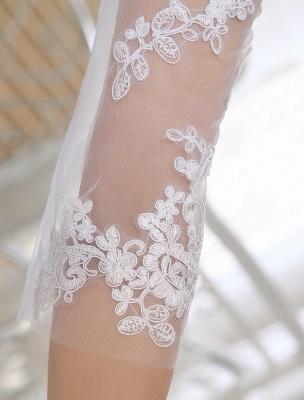 Einfache Brautkleider 2021 Kurze Spitze Applique Illusion Halbarm Tee Länge Brautkleid Exklusiv_9