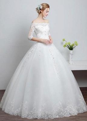 Brautkleid aus Spitze schulterfrei Elfenbein A-Linie Lace Up Half Sleeve Pailletten bodenlangen Brautkleid_2