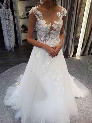 Wedding Dress Jewel Neck Sleeveless Lace Flora A Line Tulle Bridal Gowns For Beach Wedding_3