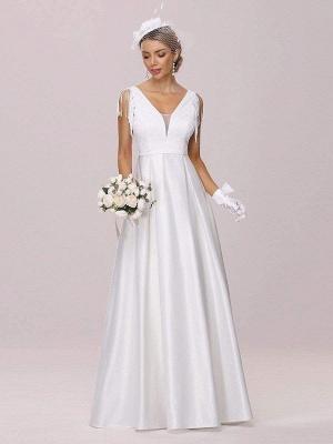 White Intage Wedding Dress V-Neck Sleeveless Natural Waist Satin Fabric Floor-Length Fringe Traditional Dresses For Bride_3