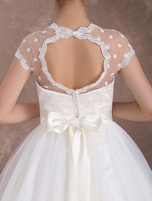 Kurze Brautkleider Vintage 50er Jahre Brautkleid Open Back Polka Dot Elfenbein A Line Tee Länge Hochzeitskleid Exklusiv_6
