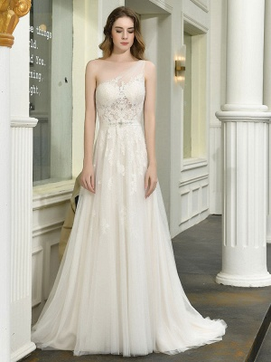 Bridal Dress 2021 One Shoulder Sleeveless Buttons Bridal Dresses With Train_3