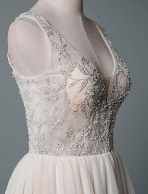 Einfaches Hochzeitskleid A-Linie V-Ausschnitt ärmellose Applikationen Perlen bodenlangen Brautkleider_5