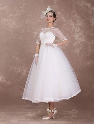 Vintage Brautkleid 50er Jahre kurzes Brautkleid Elfenbein rückenfrei Polka Dot halbe Ärmel Schatz Schleife Schärpe Weddig Empfangskleid exklusiv_4