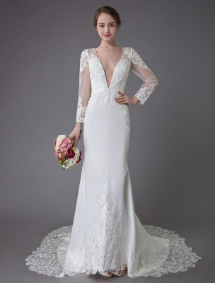 Beach Wedding Dresses Ivory Lace V Neck Long Sleeve Mermaid Bridal Gown With Train Exclusive_2