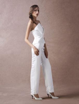 Wedding Jumpsuits Ivory Strapless Peplum Satin Bow Sash Long Bridal Jumpsuits Exclusive_5