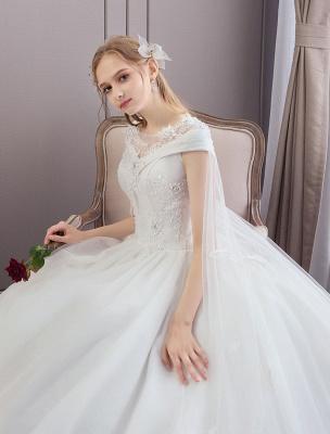 Vestidos de novia de princesa Encaje Watteau Tren Apliques Vestidos de novia de marfil con cuentas_6