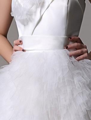 Robe de mariée courte en satin sans bretelles avec jupe fatiguée en tulle_7